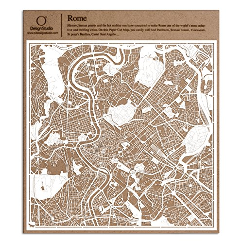 Rom Scherenschnitt Karte, Weiß 30x30 cm Papierkunst