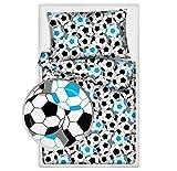 Kinderbettwäsche viele Designs 2-tlg. 100% Baumwolle 40x60 + 100x135 cm (Fußball blau)