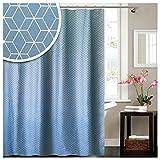 """Lashuma Textil Duschvorhang mit Ringen """"Geometric"""", weiß - Blauer Wannenvorhang Das Moderne Badezimmer Accessoire, Badevorhang ca. 180 x 180 cm"""