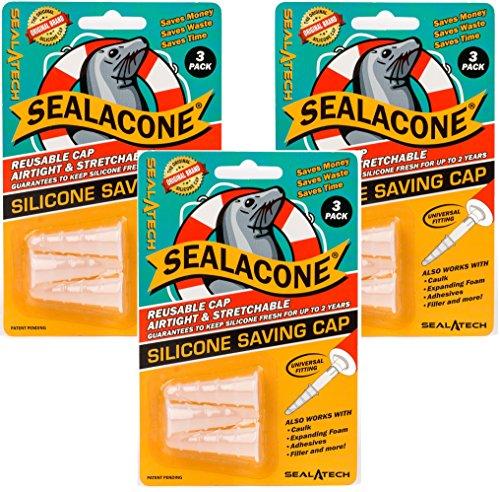 sealacone scv3, klar, universell passend für alle Düsen und, Silikon, elastisch, Schaumstoff, selbstklebend und Dichtungen, Original, 9-teilig