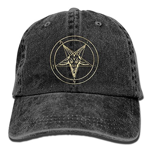 ferfgrg Gold Baphomet Inverted Pentacle Pewter Satanic Goat Head Unisex Washed Twill Cotton Baseball Cap Vintage Adjustable Hat HI417 Washed Cotton Twill Cap