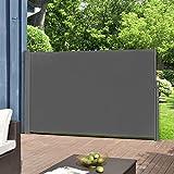 [pro.tec]® Seitenmarkise - 160 x 300 cm Grau Sichtschutz Markise Sonnen- & Windschutz