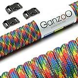 Ganzoo Paracord 550 Seil + 3X Klickverschluss für Armband, Leine, Halsband, Starter-Set