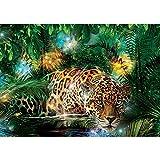 Vlies Fototapete PREMIUM PLUS Wand Foto Tapete Wand Bild Vliestapete - Leopard Tier Raubkatze Katze Dschungel Blätter - no. 2381, Größe:368x254cm Vlies