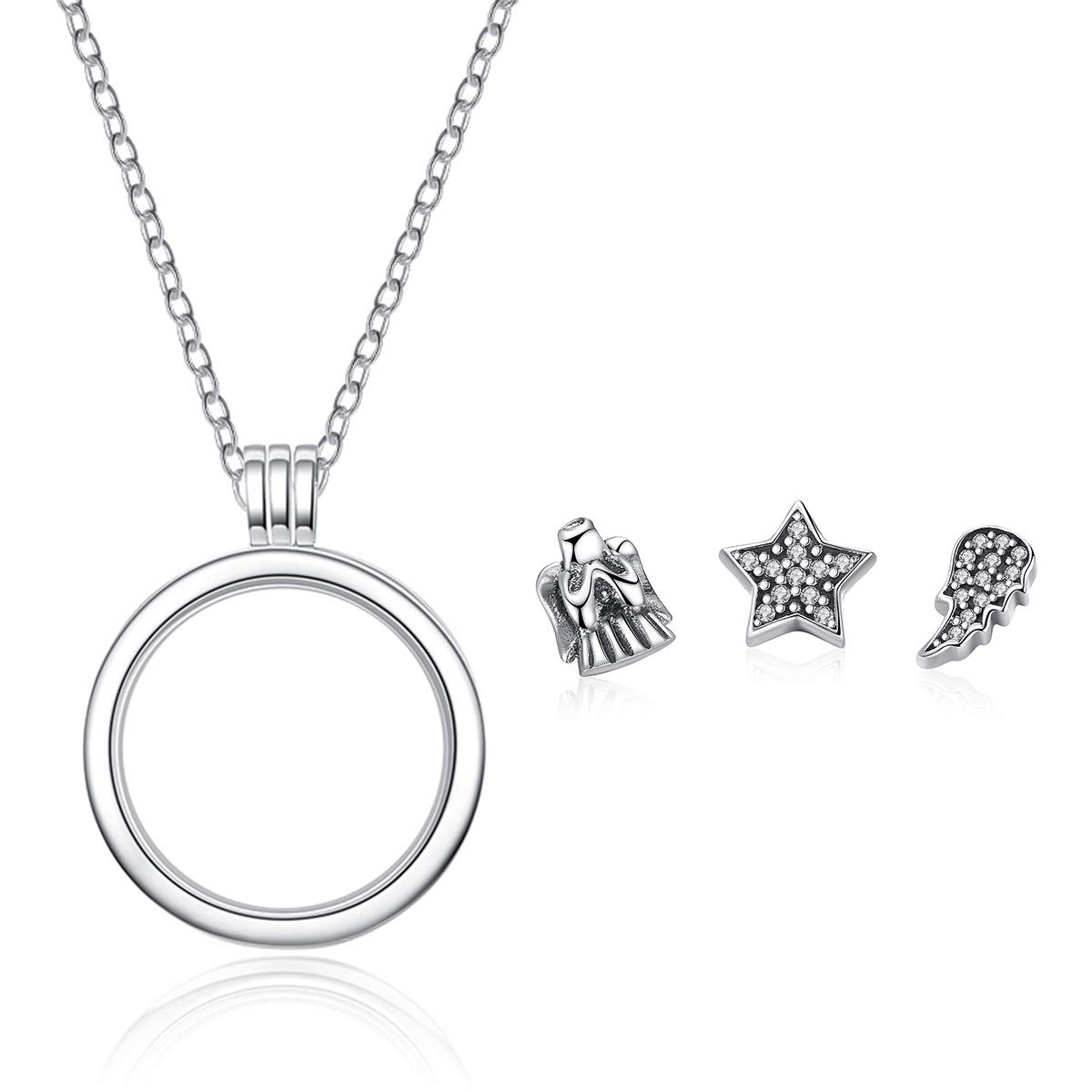 Genuine 925 Sterling Silver Medium Petite Memories Floating Locket Necklaces & Pendants Sterling Silver Jewelry