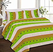 IBed Home Printed Bedsheets 3 Pieces Bedding Set - King Size, EAT-4420-GREEN
