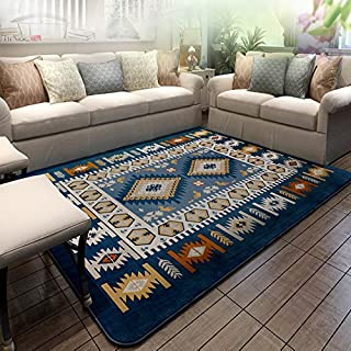 Ustide Abstract Modern Area Rugs Non-skid Blue Bohemian Carpet for Living Room 4'.2x6'.2