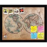 #1: ArtzFolio Mid 1800s Old World Map of Western & Eastern Hemispheres Printed Bulletin Board Notice Pin Board Cum Black Framed Painting 15.2 x 12inch