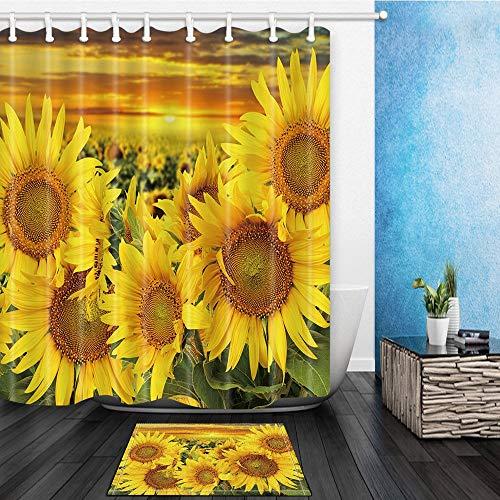 gohebe Blume Decor Sonnenblume Snuggle zusammen bei Sonnenuntergang Dusche 180x180cm Polyester Stoff Vorhang f¨¹r die Dusche Anzug mit 39,9x59,9cm Flanell rutschfeste Boden Fu?matte Bad Teppiche gelb -