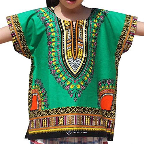 WUSIKY Baby Mädchen Jungen Top Sommer, Junge Mädchen Kinder Baby Unisex Helle Afrikanische Farbe Kind Dashiki T Shirt T Tops Lässige Mode Shirt Set Geschenk für Kinder(Grün,130) - Paisley Twin-set