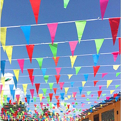 (Wimpel Banner, 150 Stück Mehrfarbig Nylon Wimpelkette Wimpel Banner,80M Nylon Stoff Dekorationen Flaggen Für Festival Parteien und Hinterhof Picnics)