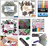 Adult Colouring Books Mega Value 5 x- Colour therapy & Amazing Animals,Floral, pattern book, Travel Colouring Book with colours - Free- 12 Fine tip coloured liners,Sharpener,Pencil Case, 20 colour therapy coloured pencils,8 glitter & scented gel pens
