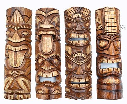 4-Tiki-Mscaras-50cm-IM-HAWAI-Estilo-Kit-de-4-Mscara-de-madera-Mscara-de-pared-sdsee-Karibik