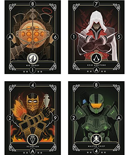 Instabuy Set of 4 Mini Posters Game Cards (B) - Postcards Format (20x15 cm)