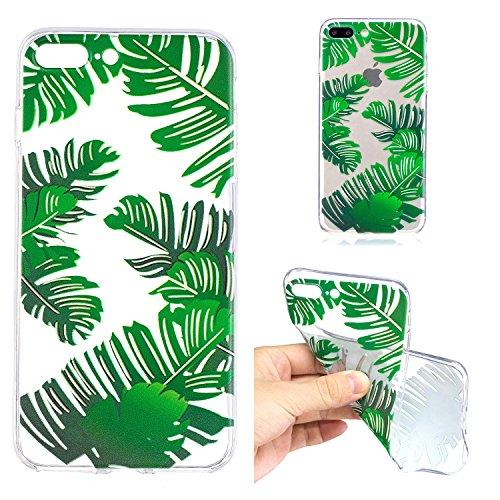 Coque Transparente pour iPhone 7 Plus / 8 Plus (5.5 pouces) - SKYXD Coque Souple TPU Silicone en Gel Case Premium Ultra-Light Ultra-Mince Skin de Protection Pare-Chocs Anti-Choc Bumper pour Apple iPho Feuilles de banane