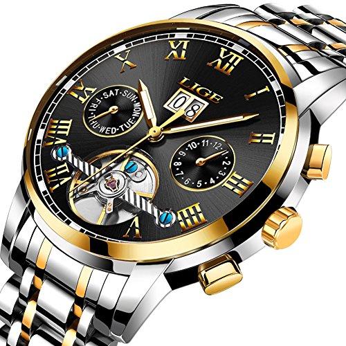 Herren Uhren Edelstahl Automatische Mechanische Uhr Männer LIGE Luxusmarke Mode Wasserdichte Uhren Gold Schwarz Runde Datum Armbanduhr