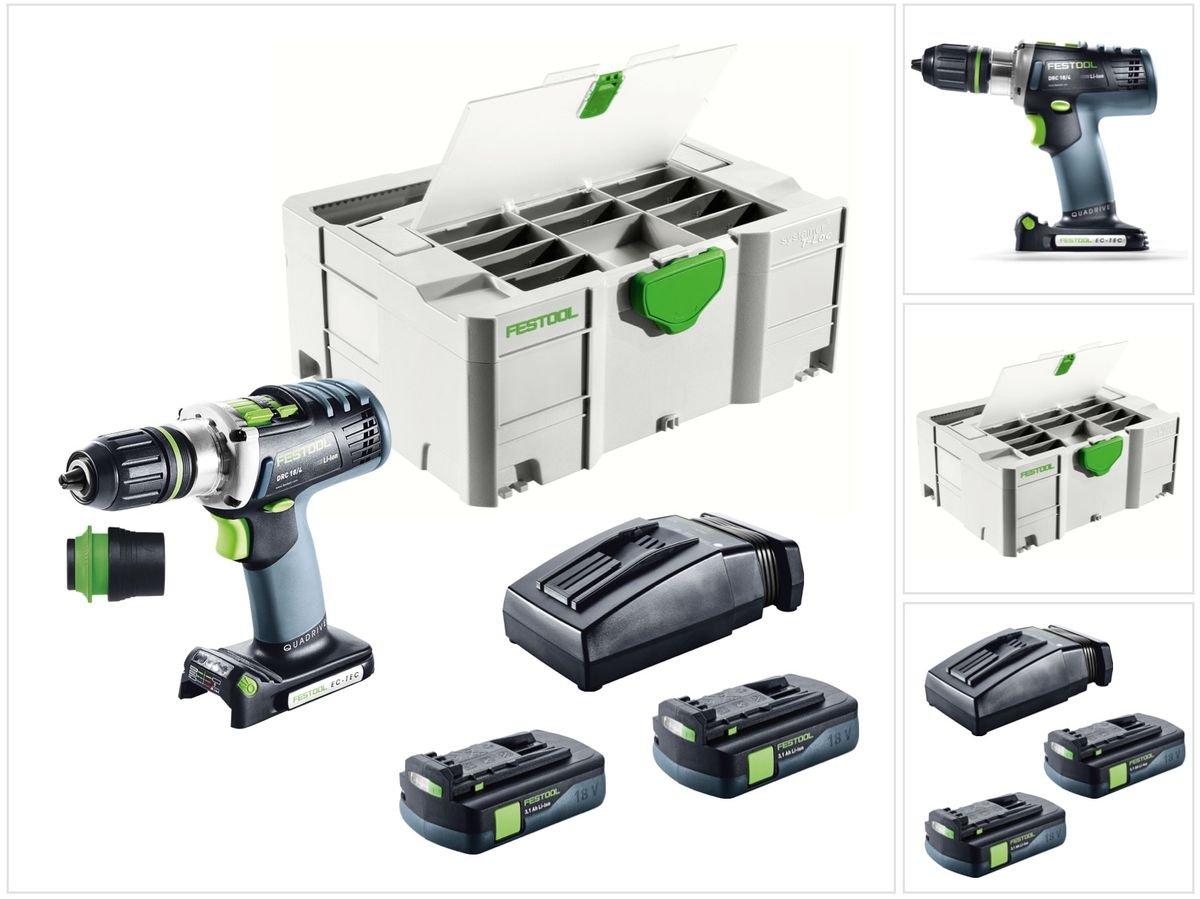 Festool DRC 18/4 Li-Basic QUADRIVE Akku Bohrschrauber (574695) 18V 60 Nm Brushless im Systainer + 2x 3,1Ah Akku…