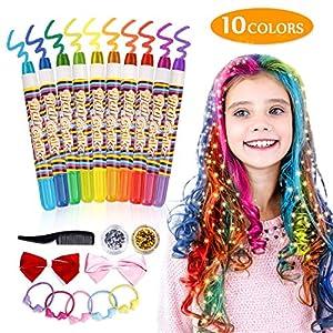 Pintar pelo Tiza de Pelo Temporal del Pelo, Emooqi Tizas para el Pelo Temporal para Niños para La Edad 4 5 6 Plus Girls…