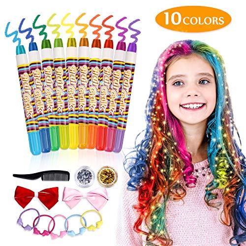 Tiza de Pelo Temporal del Pelo,Emooqi Tizas para el Pelo Tiza de Pelo Temporal para Niños para La Edad 4 5 6 Plus Girls Boys,10 Tizas y 2 Brillos, Tinte para el cabello para el Carnaval, Navidad