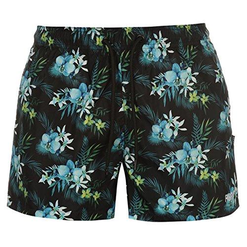 Fabric Herren Floral Badeshorts Schwimmshorts Shorts Taschen Kordelzug Muster Blau/gruen Medium (Fußball Shorts Kordelzug)