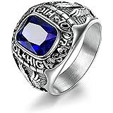 KeCol رجال الفولاذ المقاوم للصدأ الأزرق الملكي الياقوت الدائري مجوهرات الاحتفال بالمدرسة الثانوية خواتم الفضة