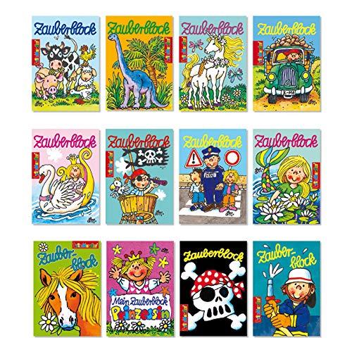 12 Zauberblöckchen im Set für Jungen und Mädchen (A8 -7,5x5,2cm) - 12 Motive - Lutz Mauder - Stück Dinosaurier-puzzle 24