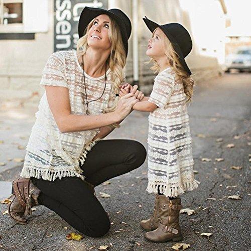 FEITONG Vêtements de famille Bébé Filles Femmes Chemise à manches courtes Dentelle Glands Chemisier Vest Outfit Blanc