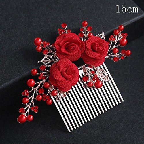 KHSKX-Chinesische Braut Kopfschmuck Folk - Rot - Weißes Haar Kämmen Rosa Blume Hochzeitskleid...