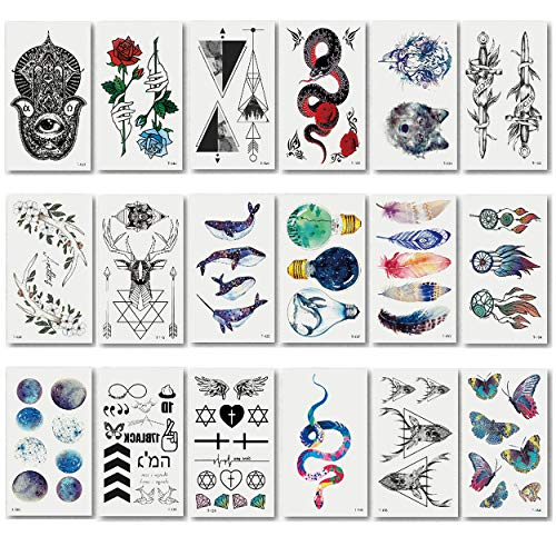 makstore 20 Blätter Tier Totem Temporäre Tattoos schwarz Tätowierung Aufkleber Tattoo Sticker für Damen Herren Kinder 10,5x6cm (Temporäre Tattoos Zug)
