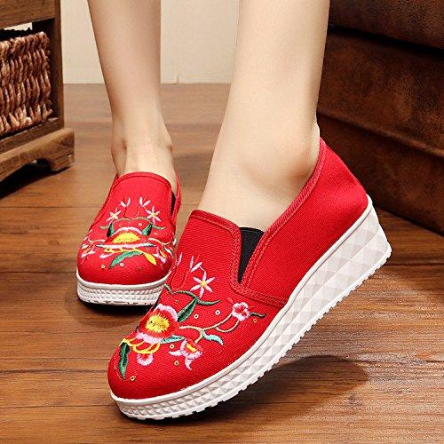 &QQ Chaussures brodées, lin, semelle de tendon, style ethnique, féminine, mode, confortable, fond épais une pédale Red