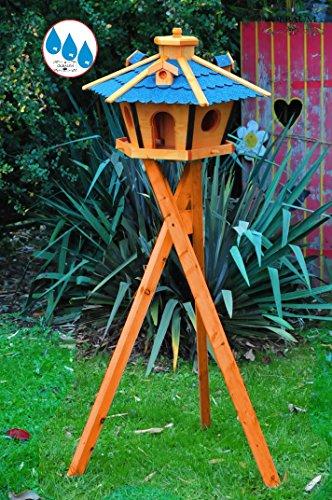 ÖLBAUM,Vogelhaus Massivholz,wetterfest, mit Ständer / mit Standfuß und Silo,Futtersilo für Winterfütterung -Holz Nistkästen & Vogelhäuser- Gartendeko aus Holz blau mit Ständer BR45blMS blau grau Vogelhäuschen,