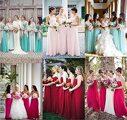 Arrowhunt Damen Chiffon Lange Elegant Bandeau Party Kleider Brautjungfernkleid mit Zurückreißverschluss Lila