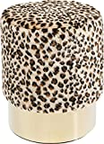 Kare Polsterhocker Cherry Leo Brass, kleiner, moderner Design Hocker mit Leoparden-Kunstfellbezug, rund, beige-braun-messing (H/B/T) 42x35x35cm
