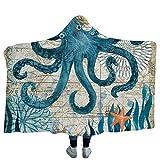 Morbuy Decke Mit Kapuze, Winter Warme Vlies Erwachsene 150x200cm/130x150cm Decken mit Hoodie Decke für Couch Sofa oder Bett (200 x 150cm, Blaue Krake)