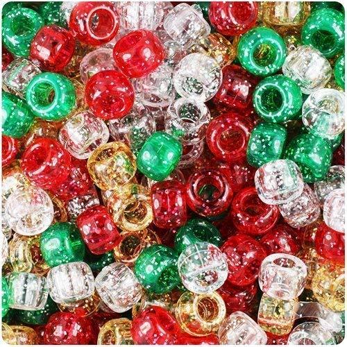 Pony 100 Stück, 9 mm x 6 mm, Glitzernd, Rot/Grün/Goldfarben/Silberfarben/Armband Geflochten Loom Gummiringe Dummy Clips, Farbe des Schaftes: Kunststoff, Acryl, Rund, SCHMUCK-, Perlen Und Charms -