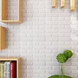 KINLO 15PCS DIY Pegatina de Pared Ladrillo 70 * 77 * 1CM Más Espeso Papel Pintado Autoadhesivo Panel Pared Impermeable PE Espuma Decoración de Pared(Color Blanco)