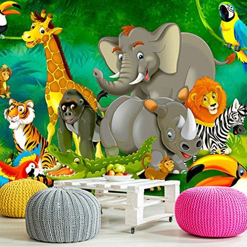 decomonkey | Fototapete Kinder Dschungel Jungelbuch Tiere Kinderzimmer 300x210 cm XXL | Design Tapete | Fototapeten | Tapeten | Wandtapete | moderne Wanddeko | Wand Dekoration Schlafzimmer Wohnzimmer | bunt | FOB0232a62XL