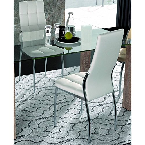 Silla comedor tapizada en polipiel color blanca, 4 unidades