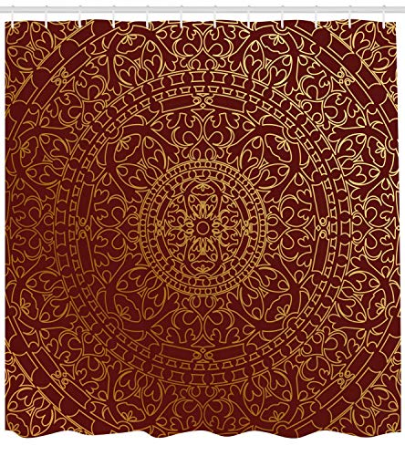 AdaCrazy Opere d'Arte arabe orientali Mandala Ispirato Ornamento Rotondo Marocchino Etnico, Tenda da Doccia Marrone Rossiccio, Arredamento Bagno in Tessuto con Ganci, Oro Marrone