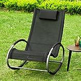 SoBuy® OGS34-SCH, Outdoor Garden Patio Rocking Chair, Relaxing Chair Rocking Sun Lounger, Black
