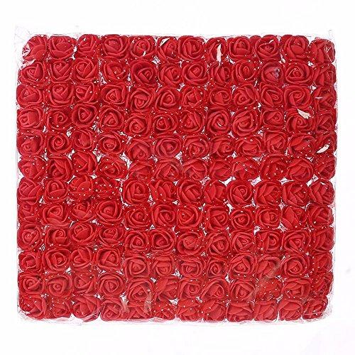 Artificial Flowers Künstliche Blumen, Mini-Schaumstoff-Rosenkopf, DIY Festival-Dekoration, handgefertigt, für Scrapbooking, Hochzeit, Zuhause, Party, Geschenk-Box, Dekoration, 144 Stück rot