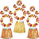 3 Pezzi Elastico Hawaiano Hula Gonna di Erba, 12 Pezzi Collana di Fiori Bracciale con Ghirlande a Fascia Accessorio Spiaggia Party