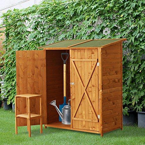 Outsunny casetta armadio porta attrezzi per esterno for Mobile esterno legno