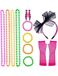 enhuton - Juego de 13 piezas de collares y pulseras de cuentas fluorescentes con diadema de