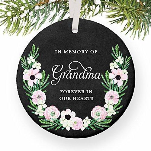 Weihnachtsschmuck Ornament Großmutter Memorial Geschenke in Memory of Oma Erinnerungen Schutzengel Forever in Our Herz Geschenk Ornaments für das Handwerk Keramik