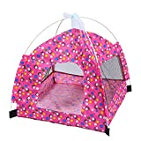 Longwu Pet Foldable Tent Dogs Cats Puppy Rabbits Indoor/outdoor Removable Mesh Playpens Mesh with Mat-Rose