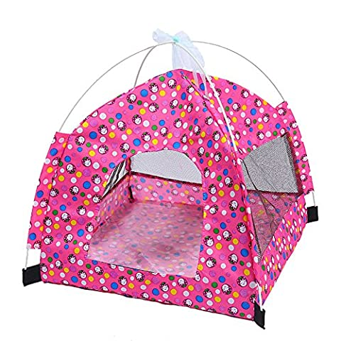 Longwu Chariot pliable pour animaux de compagnie Cats Puppy Rabbits Indoor / outdoor Supports en mailles amovibles Mesh avec tapis Rose