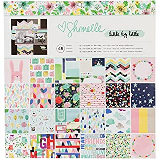 American Crafts 378353 Single-Sided Paper Pad, Multi-Colour, 12 x 12-Inch, Pack of 48