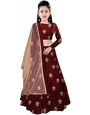 a5ae8121721 Fashionable_village Girl's Taffeta Silk maroon colour Semi-Stitched girl's Lehenga  Choli for 10-15