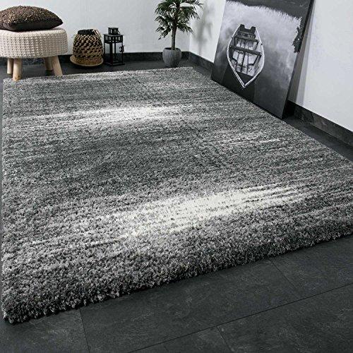 Shaggy Teppich Microfaser Polyester Farbe Grau Weiss Etra Flauschig Dicht Gewebt Hochflor 120x170 cm